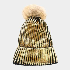 Beanie Black and Gold with Fur Ball